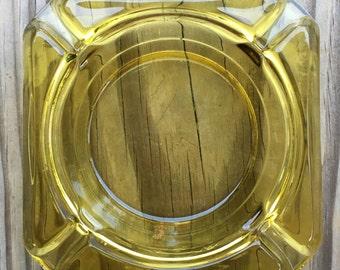 Vintage Lemon-Lime Pressed Glass Ashtray