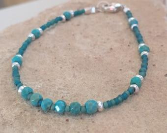 Turquoise bracelet, Hill Tribe silver bracelet, sterling silver bracelet, blue bracelet, simple bracelet, gift for her, stackable bracelet