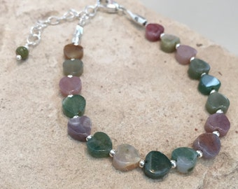 Multicolored bracelet, heart shaped jasper bracelet, sterling silver bracelet, unique bracelet, dainty bracelet, gift for her, gift for wife