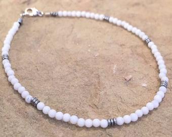 Dainty white bracelet, jade bracelet, hematite bracelet, sterling silver bracelet, small bracelet, gift for her, gift for wife, boho style