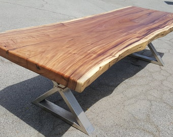 """111"""" Solid Slab Acacia Wood, Live Edge Dining Table Hand Crafted 034 SOLD"""