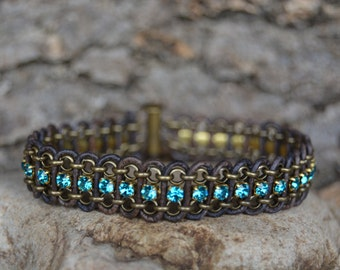 Turquoise and Brown Leather and Chain Bracelet