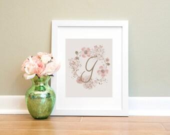Letter Print G, Monogram Letter G Wall Art Printable, Nursery Art, Home Decor Printable Wall Art, Pink and Brown Letter Print, Floral Print