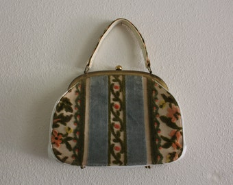 Vintage 1960's White Floral Tapestry Purse