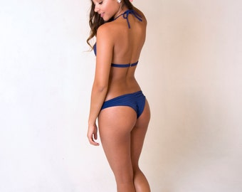 Cheeky Bikini Bottom with Scrunch back - Swarovski Embellished, shown in Midnight Blue, more colors available
