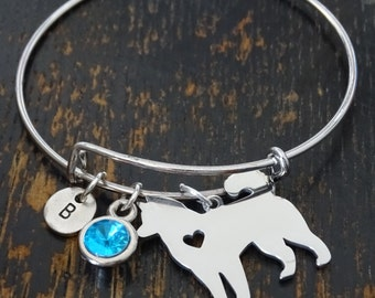 Husky Bangle Bracelet, Adjustable Expandable Bangle Bracelet, Husky Charm, Husky Pendant, Husky Jewelry, Husky Dog, Siberian Husky Lover