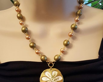 Clay Flower Pendant & Earrings Set