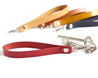 Red Leather Key Holder, Wrist Strap, Leather Keyring, Leather Keychain, Fob, Lanyard, Gift For Her, Strap For Wristlet, Housewarming Gift