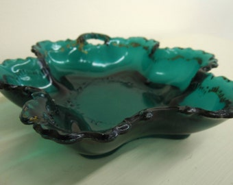 Beautiful Dark Blue-Green Glass Bowl