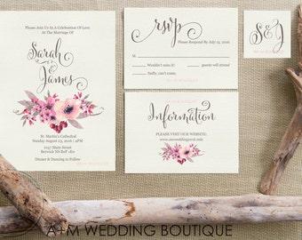 Wedding Invitation set, Floral Wreath Watercolour Watercolor, Printable Invitations : Sarah Jane