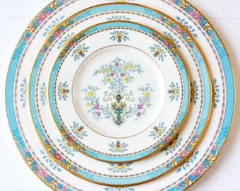 Vintage Lenox Blue Tree Dinner Set: Vintage Dinner Set, Formal Dinner Set, Pretty Dinner Set, Fine China Set, Blue Dinner Set