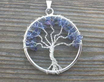 IOLITE Tree Of Life Wire Wrapped Pendant Stone NaturalGemstone
