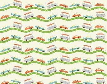 QUILTING COTTON FABRIC: Riley Blake Wheels 2 Road in Cream. Sold by the 1/2 yard