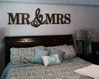 MR & MRS wood Letters,Wall Décor-Painted Wood Letters, Wall Letters-
