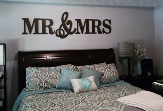 Mr Mrs Wood Letterswall Décorpainted Letters Wallrhetsy: Mr And Mrs Sign Wall Decor Bedroom At Home Improvement Advice