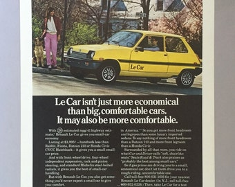 Lot of 2 1979 Renault Le Car Hatchback Print Ads featuring the Rev. Dr. Gray-Smith