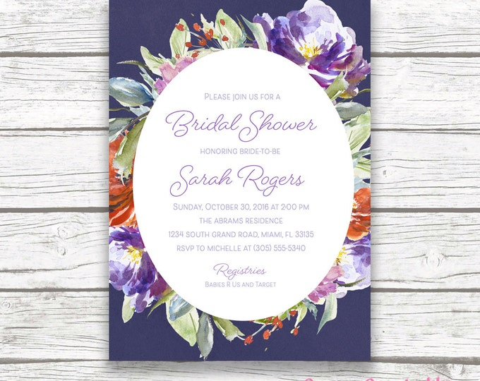 Purple Navy Floral Baby Shower Invitation, Fall Autumn Winter, Boy Girl Baby Shower Watercolor Invite, Orange Purple Flower, Printable