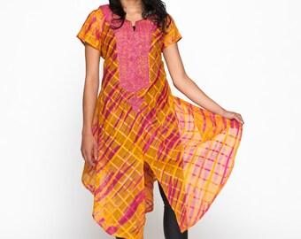 African Ankara Pink & Orange Chiffon Embroidered Tunic