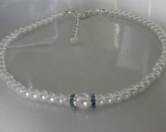 Something blue anklet, white pearl anklet, ankle bracelet, stretch anklet, beaded anklet, bridal anklet, bridal jewellery, beach anklet