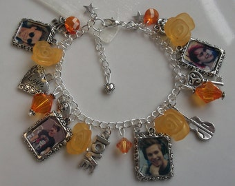 5SOS Five Seconds of Summer photo charm bracelet, picture frame bracelet, photo jewellery, silver plated chain, orange rose