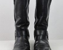 Vintage of 90s BUFFALO men biker boots mens shoes genuine leather motorcycle boots grunge EU 42 black hipster rocker motorcycle black metal