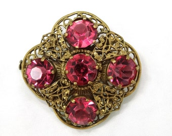 Filigree Brass & Fuschia Brooch
