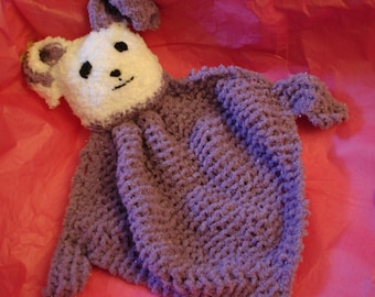 Cuddle Bunny knitted with Chenille Yarn in Purple and White