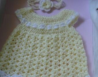 Baby Girls Dress and Headband Set - Yellow with white trim
