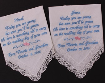 Flower Girl Handkerchiefs,Set of 2 hankies,wedding gift, favor, custom, personalize, embroidered,hanky,Today you are young, LS0F38