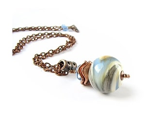 Blue and Gray lampwork necklace on copper color chain, Handmade Glass Pendant, Single Bead Necklace, Simple Necklace, Minimalist Jewelry