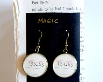 Dewey Decimal System EARRINGS, Magic, 133.43,  call number, library, gift
