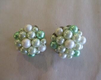 Vintage Green and White Beaded Flower Clip On Earrings