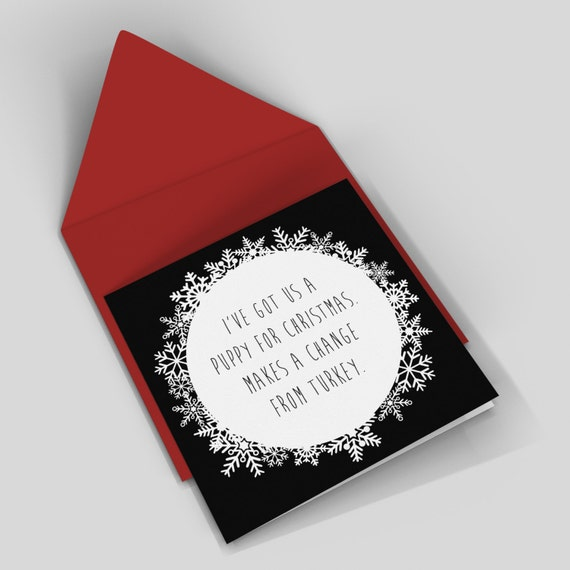 Funny christmas card - puppy - rude card