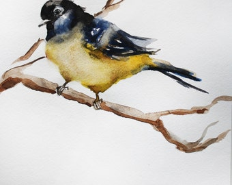 Print of Watercolor Painting, Bird on a branch, gift for her, home decor, PRINT Gift Spring Art OOAK