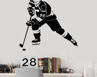Wall Vinyl Decal Hockey Player Winter Sport Guaranteed Quality Decor 2267di