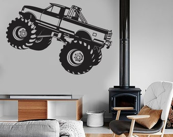 Wall Vinyl Decal Car Monster Truck Auto Body Shop Garage Man Cave or Kid's Room Decor (#1027di)