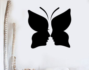 Wall Vinyl Decal Butterfly Kissing Couple Love Romance Abstract Modern Home Decor (#1095di)