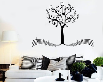 Wall Vinyl Music Notes Tree For Bedroom Guaranteed Quality Decal Mural Art 1529dz