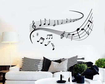 Wall Vinyl Music Notes Dancing Good Sound Guaranteed Quality Decal 1541dz