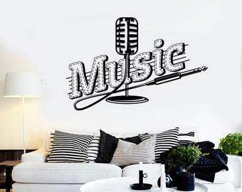 Wall Vinyl Music Microphone Song Singing Guaranteed Quality Decal Mural Art 1555dz