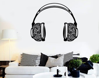 Wall Vinyl Music Headphones Ornament Guaranteed Quality Decal Mural Art 1572dz