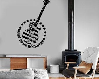 Wall Vinyl Music Guitar Rock US Flag Guaranteed Quality Decal Mural 1697dz