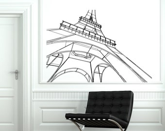 Wall Decal Paris Eiffel Tower France Romantic Love Vinyl Decal Sticker 1815dz