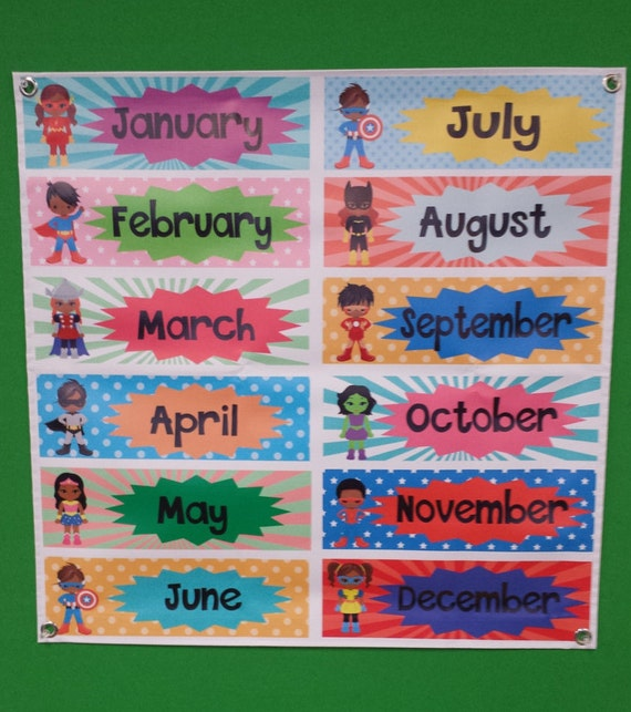 Cute Superhero Months Of The Year Classroom Poster On Vinyl