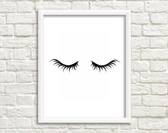 Lashes decor Girly poster girly prints girly Room Decor Eyelashes print Eyelash art girly wall art Lashes art lashes sign girly decorations