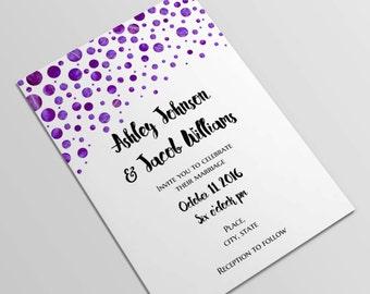 Purple wedding invitation Modern wedding Invitation template Lavender wedding invitation Printable invitations Watercolor invitation W73