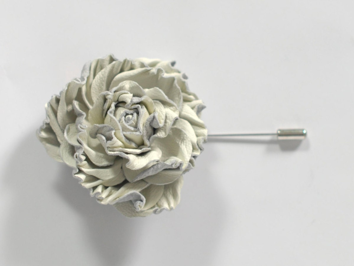 Rose leather Brooch Flower Lapel Pin Ivory Prom by ...