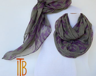 Purple Grey Summer Scarf / Spring Scarf / Autumn Scarf / Gift For Her / Fashion Accessories / Mothers Day Gift