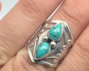 silver boho ring with Turquoise stones,Turquoise ring,Turquoise jewelry,silver jewelry,tribal ring,boho ring,gypsy ring,boho jewelry