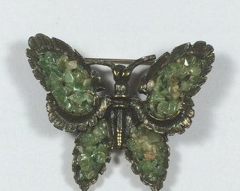 Butterfly Brooch Pin with Green Jade (?) Stone Wings 5934